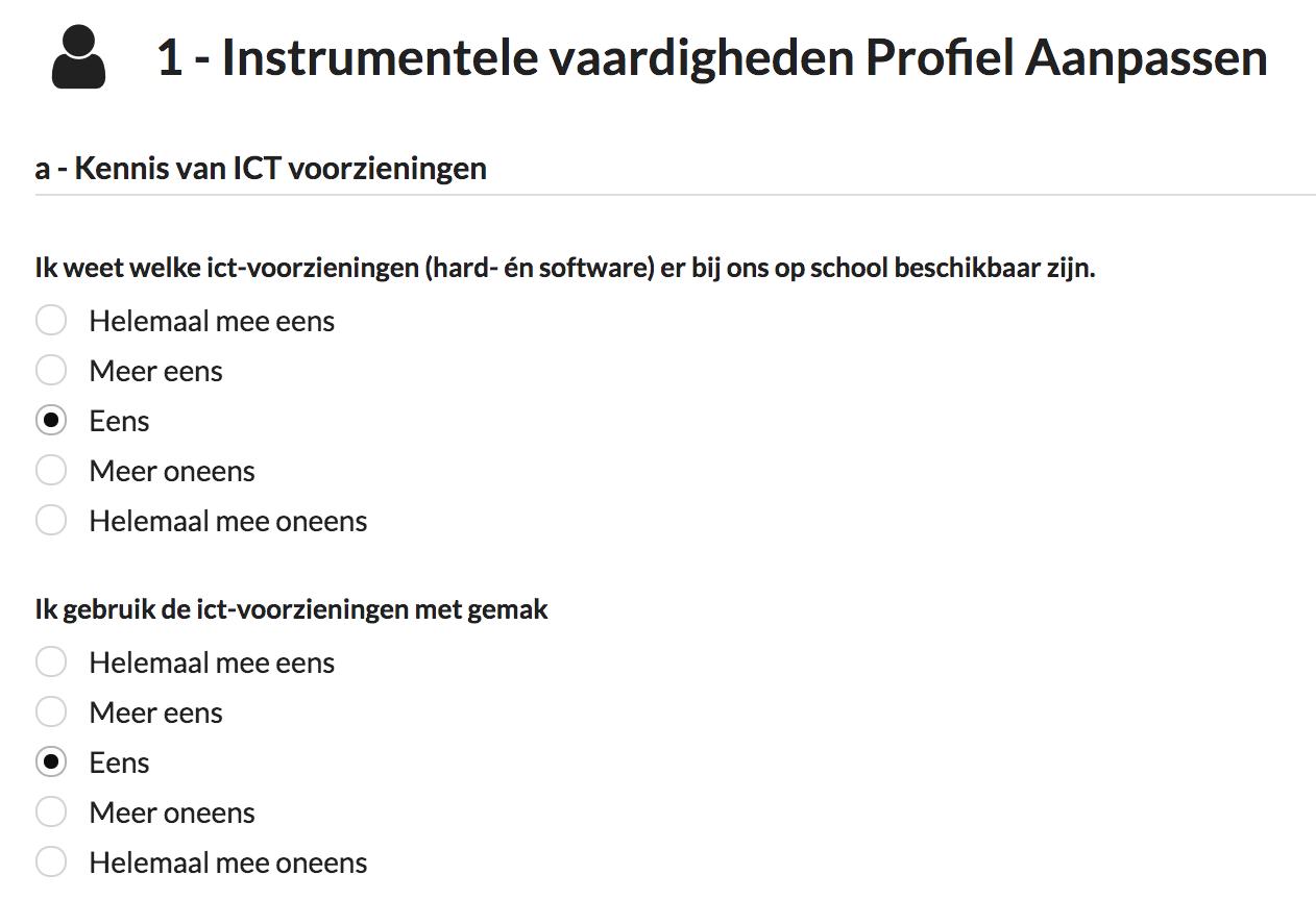 Screenshot van de vragen die worden gepresenteerd aan leerkrachten