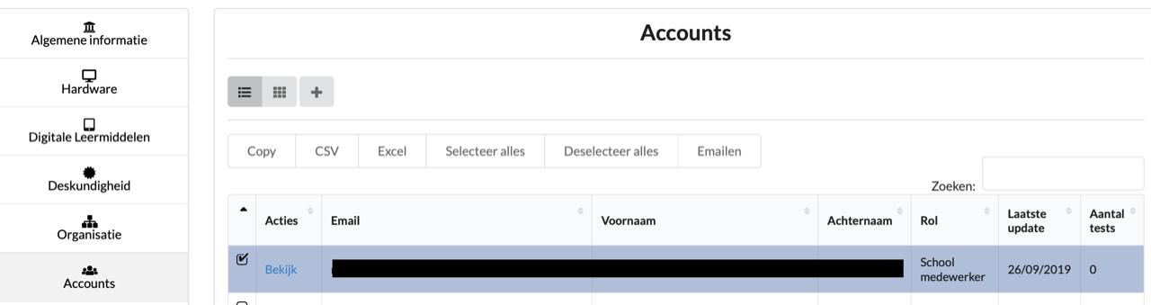 Lijst met accounts
